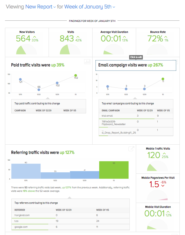 Google analytics reporting screen shot